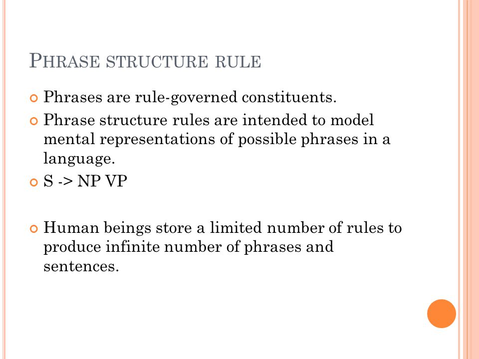 P HRASE STRUCTURE RULE Phrases are rule-governed constituents.