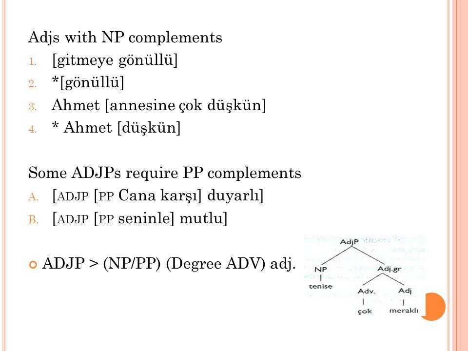 Adjs with NP complements 1. [gitmeye gönüllü] 2. *[gönüllü] 3. Ahmet [annesine çok düşkün] 4. * Ahmet [düşkün] Some ADJPs require PP complements A. [