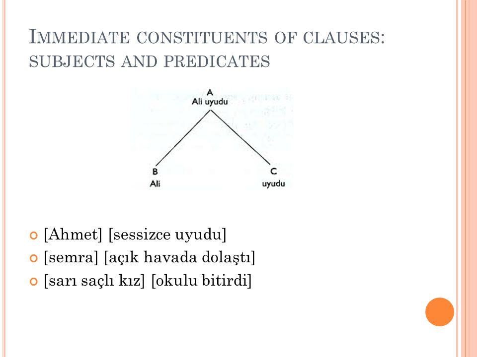 I MMEDIATE CONSTITUENTS OF CLAUSES : SUBJECTS AND PREDICATES [Ahmet] [sessizce uyudu] [semra] [açık havada dolaştı] [sarı saçlı kız] [okulu bitirdi]