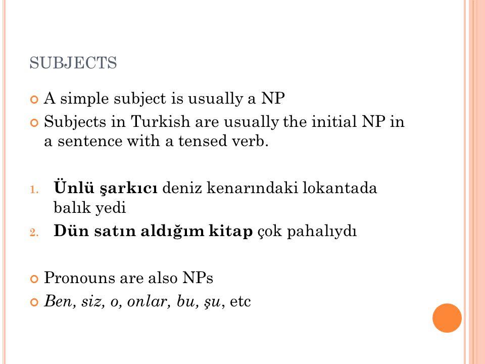 Adjs with NP complements 1.[gitmeye gönüllü] 2. *[gönüllü] 3.