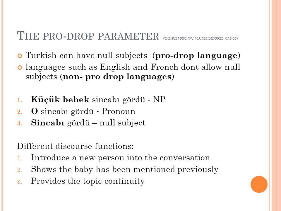 Pronouns can also stand for NPs Benim kitabım, Canın kalemi, Onların evleri, bir ev, iki kardeş, bütün yollar, etc The above NPs consist of determiners.