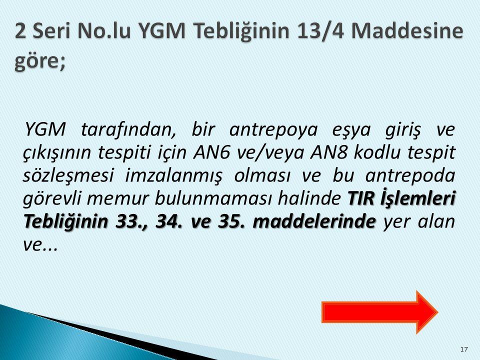TIR İşlemleri Tebliğinin 33., 34. ve 35. maddelerinde YGM tarafından, bir antrepoya eşya giriş ve çıkışının tespiti için AN6 ve/veya AN8 kodlu tespit