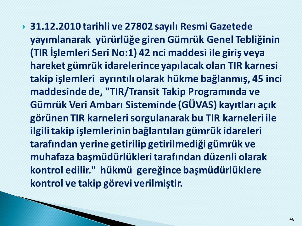  31.12.2010 tarihli ve 27802 sayılı Resmi Gazetede yayımlanarak yürürlüğe giren Gümrük Genel Tebliğinin (TIR İşlemleri Seri No:1) 42 nci maddesi ile