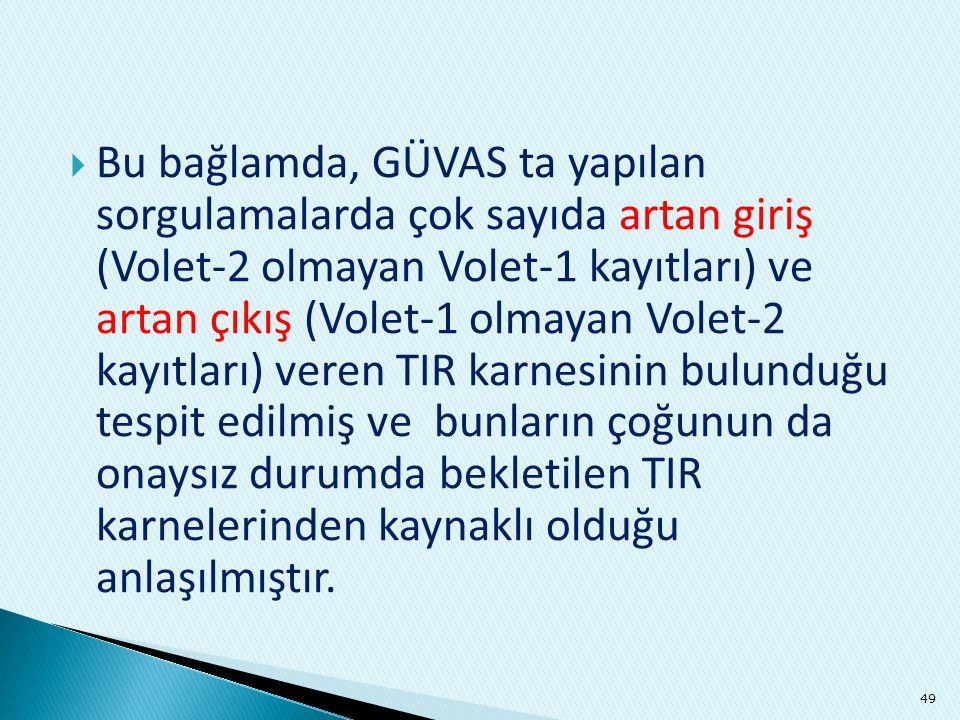  Bu bağlamda, GÜVAS ta yapılan sorgulamalarda çok sayıda artan giriş (Volet-2 olmayan Volet-1 kayıtları) ve artan çıkış (Volet-1 olmayan Volet-2 kayı