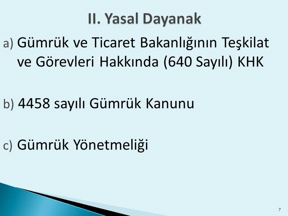 a) Gümrük ve Ticaret Bakanlığının Teşkilat ve Görevleri Hakkında (640 Sayılı) KHK b) 4458 sayılı Gümrük Kanunu c) Gümrük Yönetmeliği 7