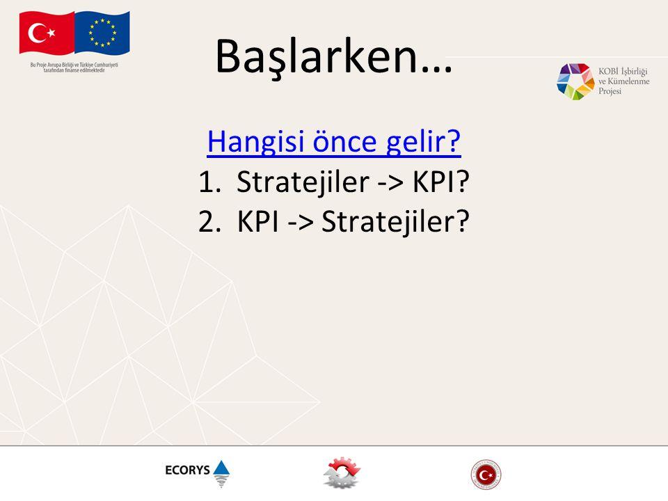 Başlarken… Hangisi önce gelir? 1.Stratejiler -> KPI? 2.KPI -> Stratejiler?