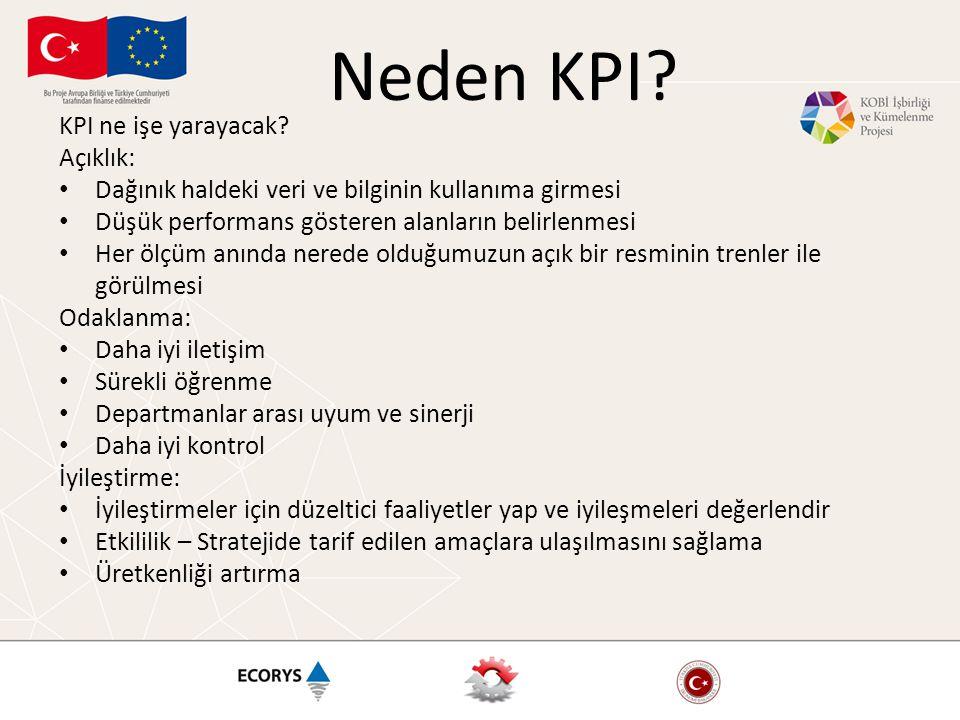 Neden KPI? KPI ne işe yarayacak? Açıklık: • Dağınık haldeki veri ve bilginin kullanıma girmesi • Düşük performans gösteren alanların belirlenmesi • He
