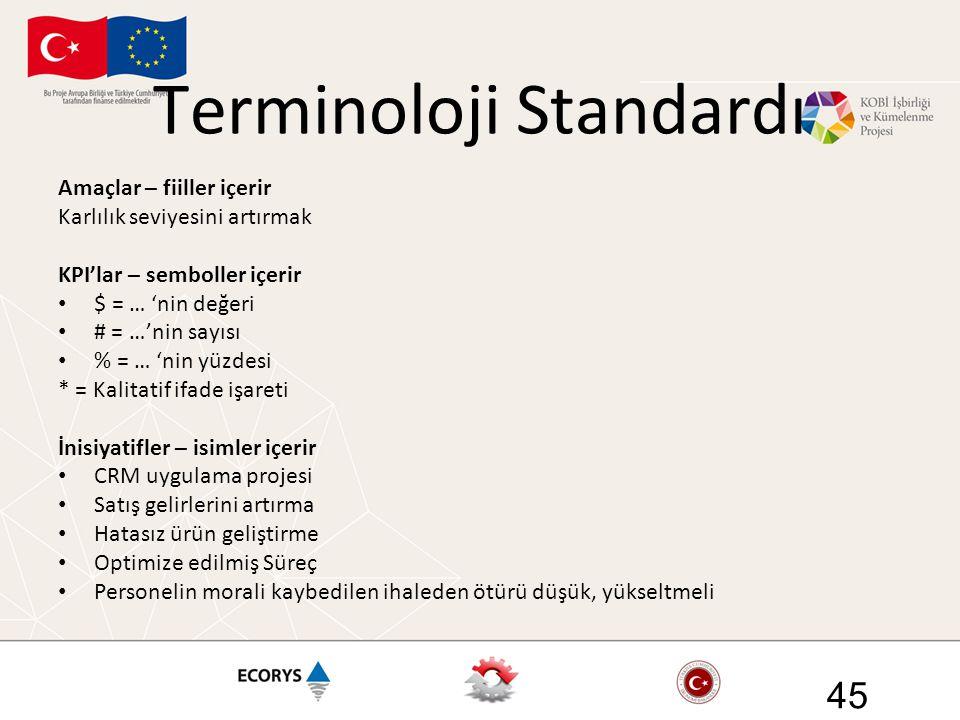 Terminoloji Standardı Amaçlar – fiiller içerir Karlılık seviyesini artırmak KPI'lar – semboller içerir • $ = … 'nin değeri • # = …'nin sayısı • % = …