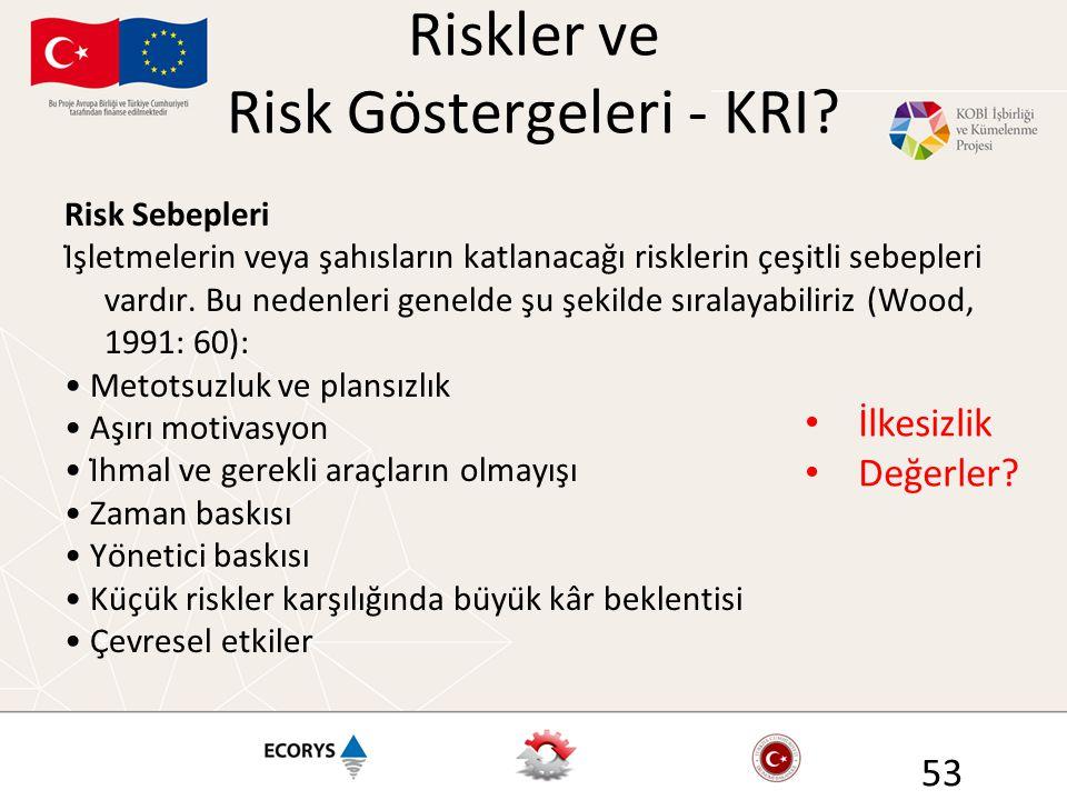Riskler ve Risk Göstergeleri - KRI? Risk Sebepleri İşletmelerin veya şahısların katlanacağı risklerin çeşitli sebepleri vardır. Bu nedenleri gen