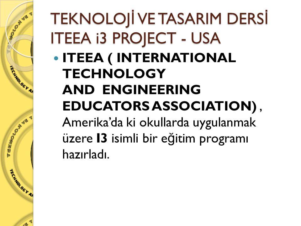 TEKNOLOJ İ VE TASARIM DERS İ ITEEA i3 PROJECT - USA  ITEEA ( INTERNATIONAL TECHNOLOGY AND ENGINEERING EDUCATORS ASSOCIATION), Amerika'da ki okullarda