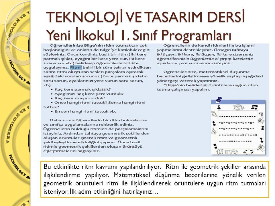 TEKNOLOJ İ VE TASARIM DERS İ Yeni İ lkokul 1. Sınıf Programları Bu etkinlikte ritm kavramı yapılandırılıyor. Ritm ile geometrik şekiller arasında iliş