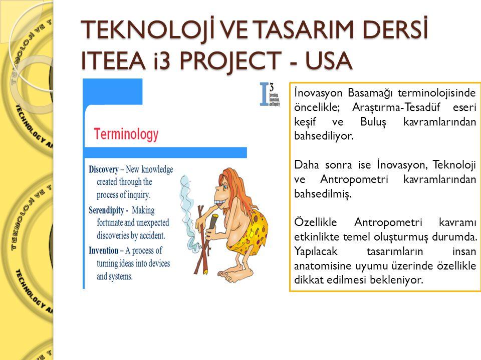 TEKNOLOJ İ VE TASARIM DERS İ ITEEA i3 PROJECT - USA İ novasyon Basama ğ ı terminolojisinde öncelikle; Araştırma-Tesadüf eseri keşif ve Buluş kavramlar