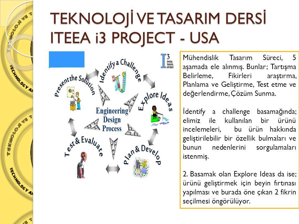 TEKNOLOJ İ VE TASARIM DERS İ ITEEA i3 PROJECT - USA Mühendislik Tasarım Süreci, 5 aşamada ele alınmış. Bunlar; Tartışma Belirleme, Fikirleri araştırma