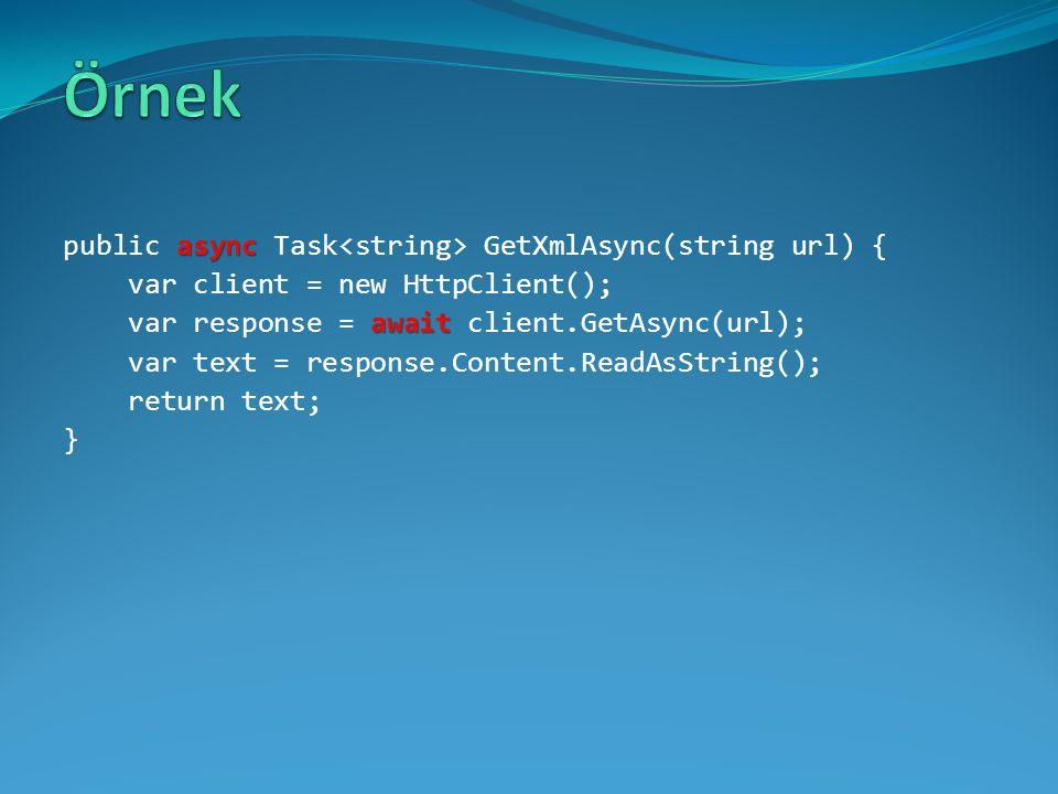 async public async Task GetXmlAsync(string url) { var client = new HttpClient(); await var response = await client.GetAsync(url); var text = response.