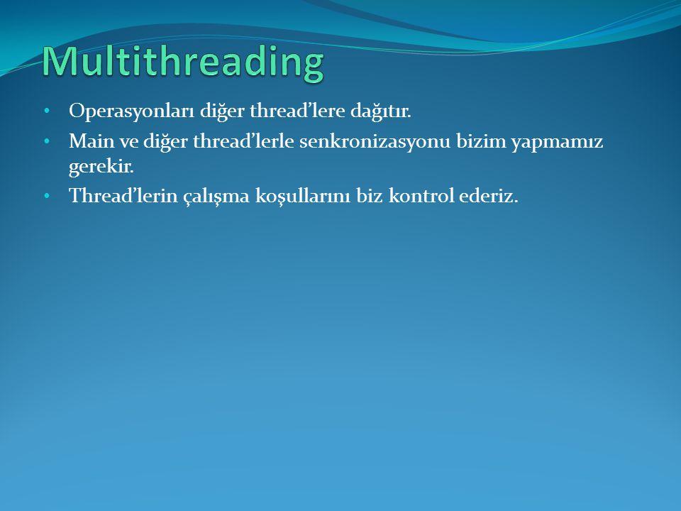 • Operasyonları diğer thread'lere dağıtır. • Main ve diğer thread'lerle senkronizasyonu bizim yapmamız gerekir. • Thread'lerin çalışma koşullarını biz