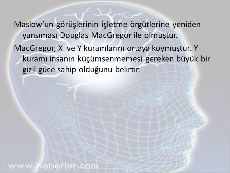Maslow'un görüşlerinin işletme örgütlerine yeniden yansıması Douglas MacGregor ile olmuştur. MacGregor, X ve Y kuramlarını ortaya koymuştur. Y kuramı