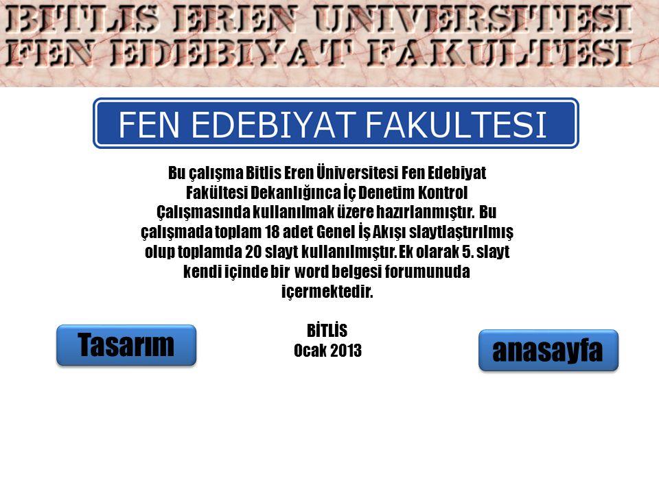 Bu çalışma Bitlis Eren Üniversitesi Fen Edebiyat Fakültesi Dekanlığınca İç Denetim Kontrol Çalışmasında kullanılmak üzere hazırlanmıştır. Bu çalışmada