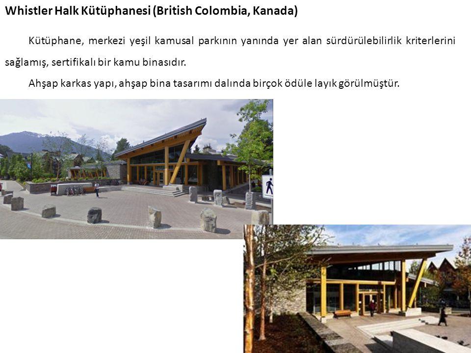 Whistler Halk Kütüphanesi (British Colombia, Kanada) Kütüphane, merkezi yeşil kamusal parkının yanında yer alan sürdürülebilirlik kriterlerini sağlamı