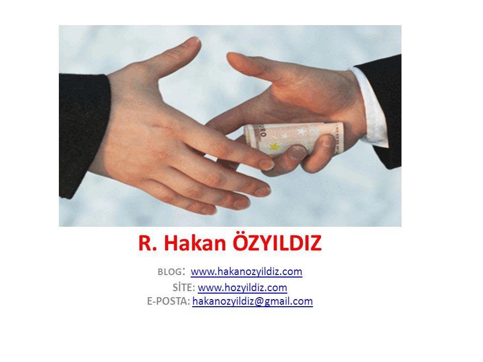 Yöntem www.hakanozyildiz.com12 • Vergi oranlarını değiştirme, vergi incelemelerini engelleme, • Vergi iadeleri, • Vergi ve diğer mali aflar, • Özelleştirme kapsamında şeffaf olmayan satış ve devir, • Personel alımlarında kadroları para karşılığında dağıtma, • Kamu sınav sorularını pazarlama, • Eş, dost, akraba, parti taraftarlarını liyakata ve yeteneğe bakılmaksızın kamu kurum, kuruluş ve bankalarına yerleştirme, • Rüşvet alma potansiyeli olan görevlerde liyakata bakılmaksızın görevlendirme, • Gümrük vergisi oranlarını etkileyen her türlü gümrük işlemleri (değişik pozisyona sokma vs) • Dış ticarette ithal izinleri ve vergi oranlarını değiştirme,