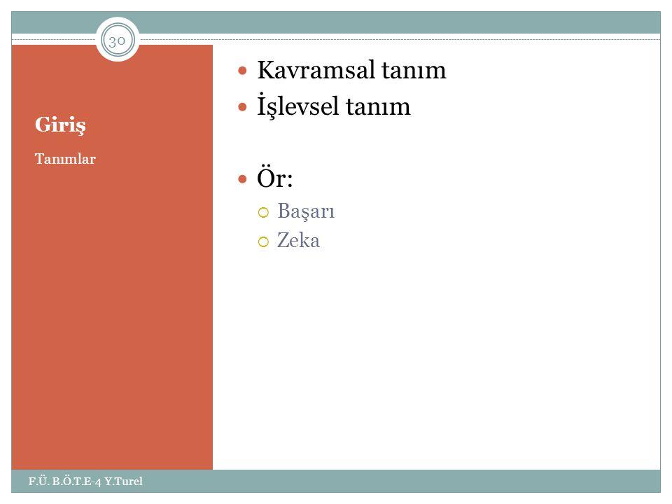 Giriş Tanımlar  Kavramsal tanım  İşlevsel tanım  Ör:  Başarı  Zeka 30 F.Ü. B.Ö.T.E-4 Y.Turel