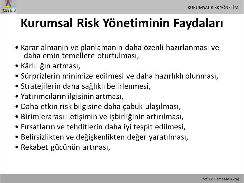 Kurumsal Risk Yönetiminin Faydaları • Karar almanın ve planlamanın daha özenli hazırlanması ve daha emin temellere oturtulması, • Kârlılığın artması,