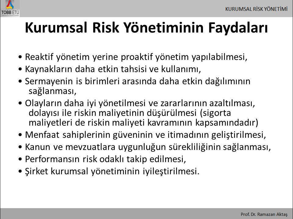 Kurumsal Risk Yönetiminin Faydaları • Reaktif yönetim yerine proaktif yönetim yapılabilmesi, • Kaynakların daha etkin tahsisi ve kullanımı, • Sermayen