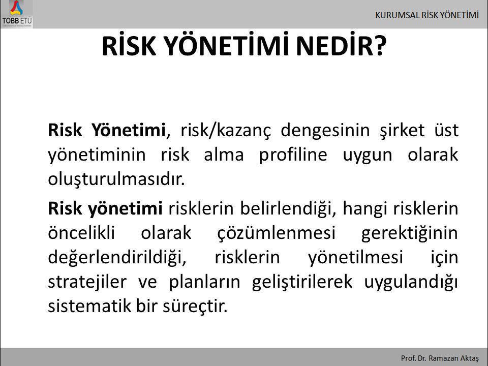 RİSK YÖNETİMİ NEDİR? Risk Yönetimi, risk/kazanç dengesinin şirket üst yönetiminin risk alma profiline uygun olarak oluşturulmasıdır. Risk yönetimi ris
