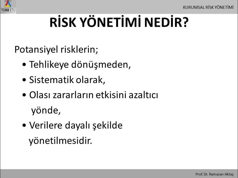 Potansiyel risklerin; • Tehlikeye dönüşmeden, • Sistematik olarak, • Olası zararların etkisini azaltıcı yönde, • Verilere dayalı şekilde yönetilmesidi