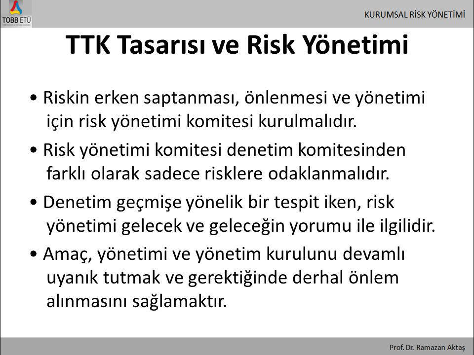 TTK Tasarısı ve Risk Yönetimi • Riskin erken saptanması, önlenmesi ve yönetimi için risk yönetimi komitesi kurulmalıdır. • Risk yönetimi komitesi dene