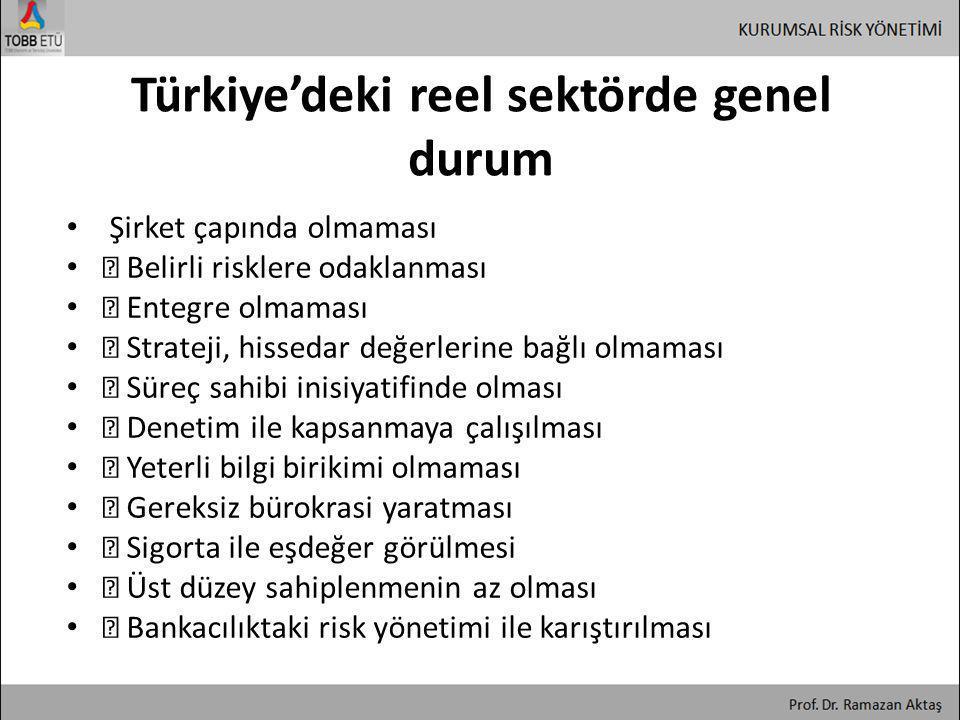 Türkiye'deki reel sektörde genel durum • Şirket çapında olmaması • ƒ Belirli risklere odaklanması • ƒ Entegre olmaması • ƒ Strateji, hissedar değerler