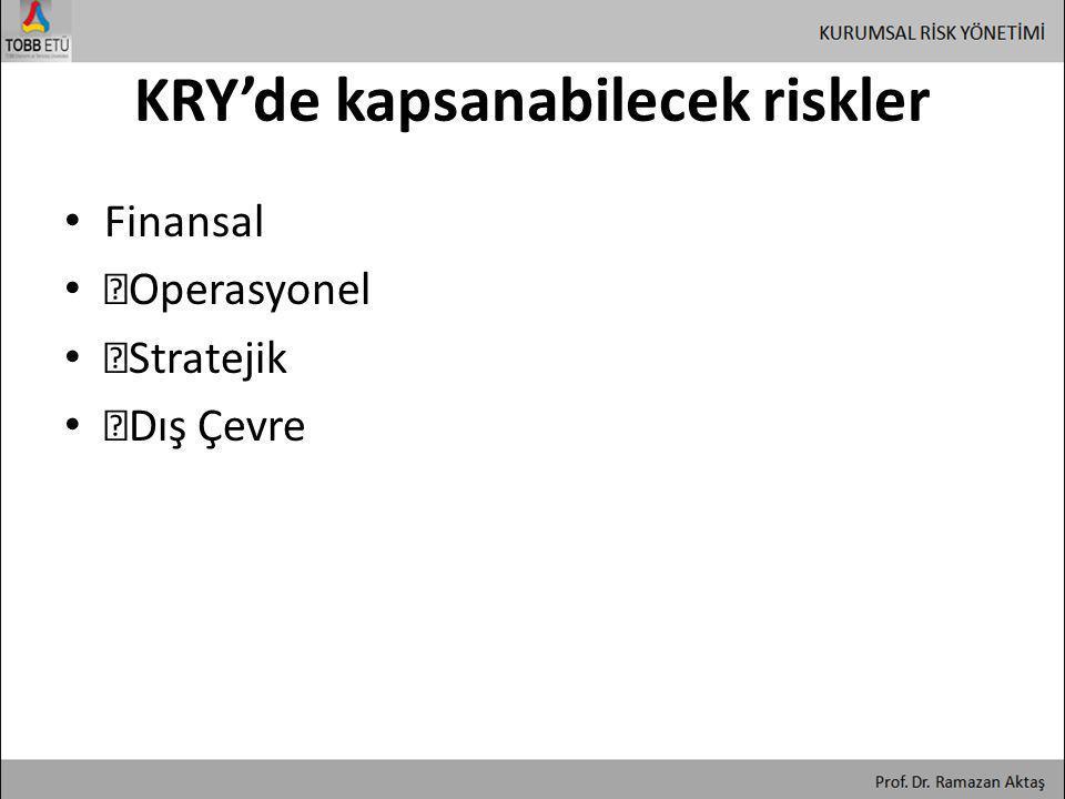KRY'de kapsanabilecek riskler • Finansal • ƒOperasyonel • ƒStratejik • ƒDış Çevre