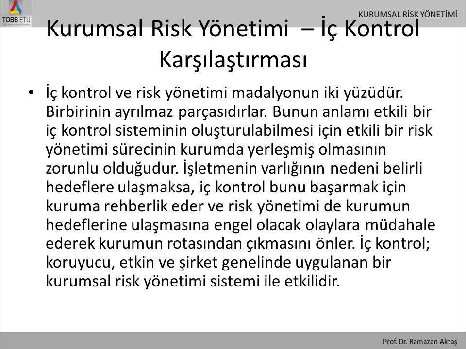 Kurumsal Risk Yönetimi – İç Kontrol Karşılaştırması • İç kontrol ve risk yönetimi madalyonun iki yüzüdür. Birbirinin ayrılmaz parçasıdırlar. Bunun anl