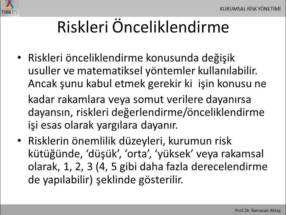 Riskleri Önceliklendirme • Riskleri önceliklendirme konusunda değişik usuller ve matematiksel yöntemler kullanılabilir. Ancak şunu kabul etmek gerekir