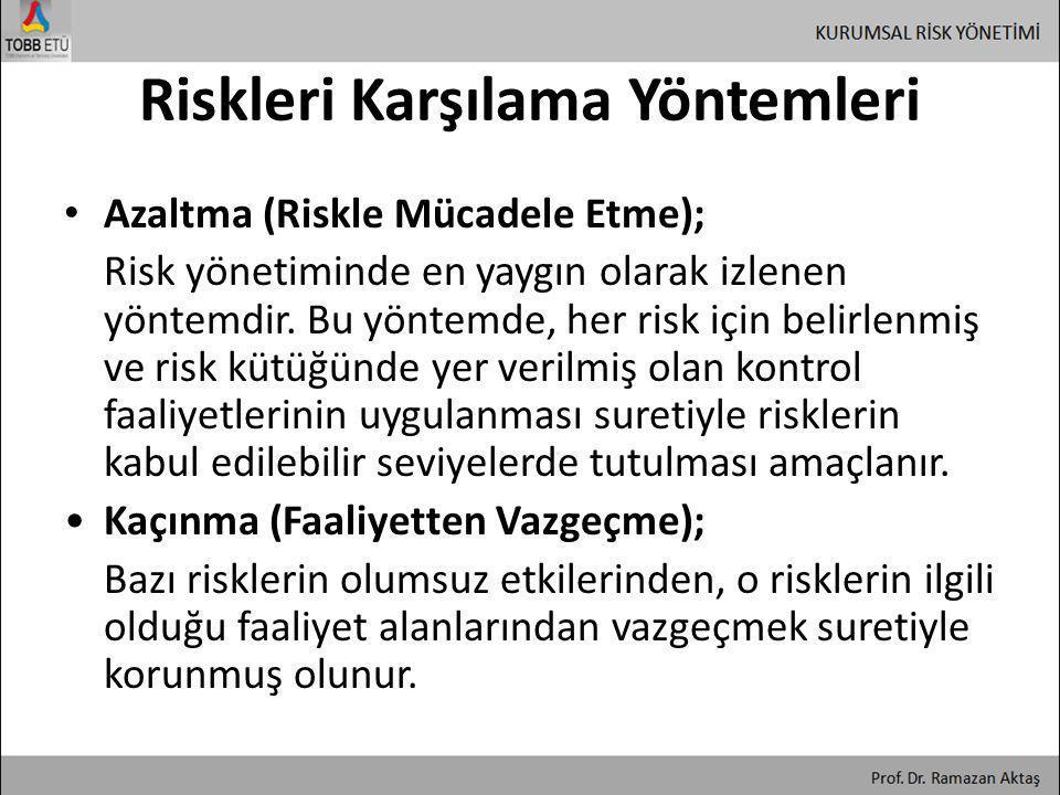Riskleri Karşılama Yöntemleri • Azaltma (Riskle Mücadele Etme); Risk yönetiminde en yaygın olarak izlenen yöntemdir. Bu yöntemde, her risk için belirl