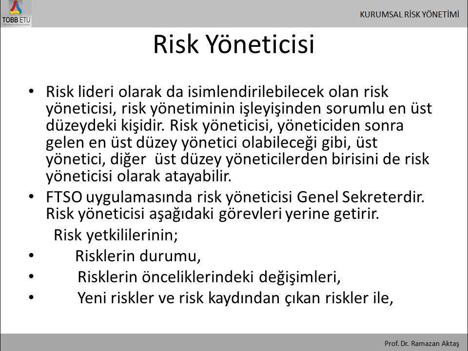Risk Yöneticisi • Risk lideri olarak da isimlendirilebilecek olan risk yöneticisi, risk yönetiminin işleyişinden sorumlu en üst düzeydeki kişidir. Ris