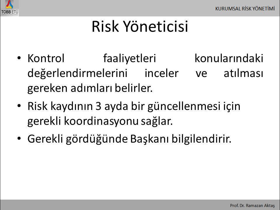 Risk Yöneticisi • Kontrol faaliyetleri konularındaki değerlendirmelerini inceler ve atılması gereken adımları belirler. • Risk kaydının 3 ayda bir gün