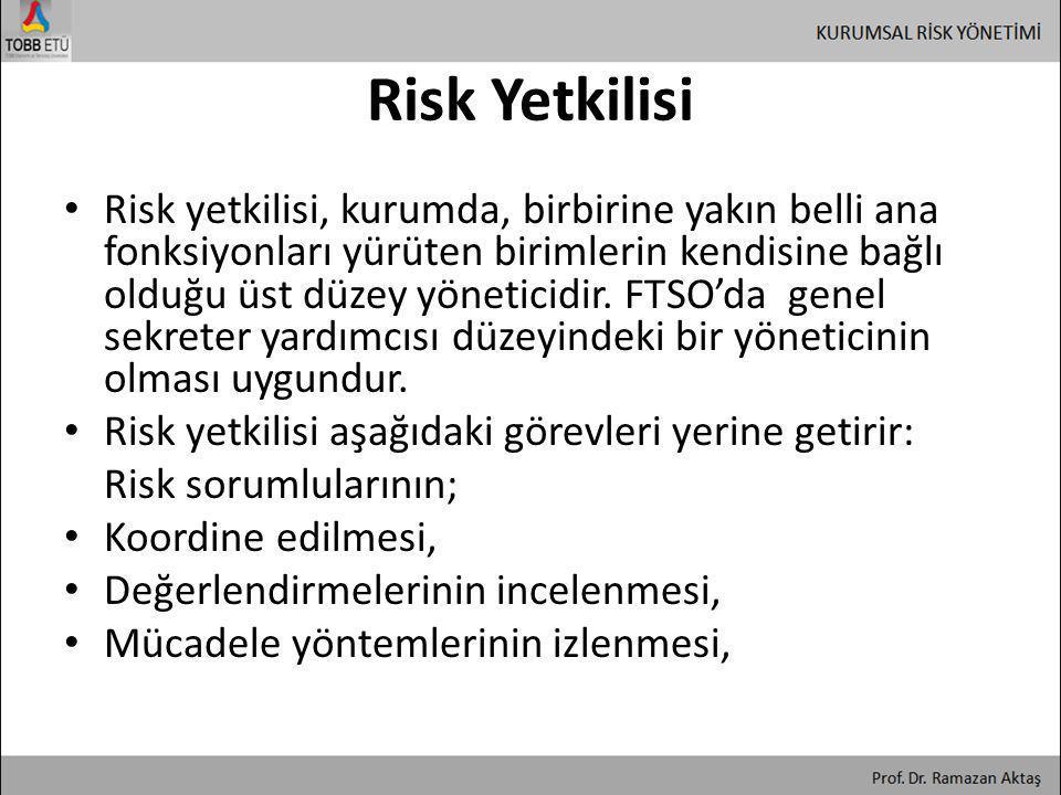 Risk Yetkilisi • Risk yetkilisi, kurumda, birbirine yakın belli ana fonksiyonları yürüten birimlerin kendisine bağlı olduğu üst düzey yöneticidir. FTS