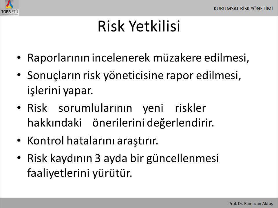 Risk Yetkilisi • Raporlarının incelenerek müzakere edilmesi, • Sonuçların risk yöneticisine rapor edilmesi, işlerini yapar. • Risk sorumlularının yeni
