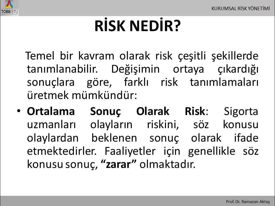 • Sonuçlar Arasındaki Farklılık Olarak Risk: Risk ile ilgili genel tanımlama, riskin, olaylarla ilgili sonuçların istatistiksel değişimini veya standart sapmasını ifade ettiğidir.