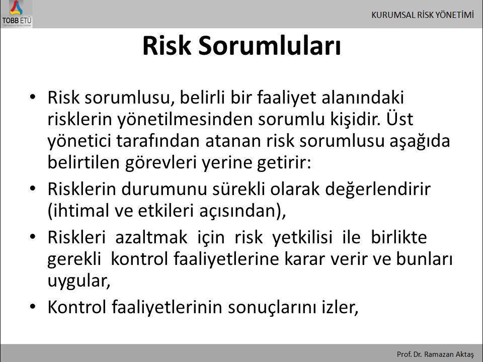 Risk Sorumluları • Risk sorumlusu, belirli bir faaliyet alanındaki risklerin yönetilmesinden sorumlu kişidir. Üst yönetici tarafından atanan risk soru
