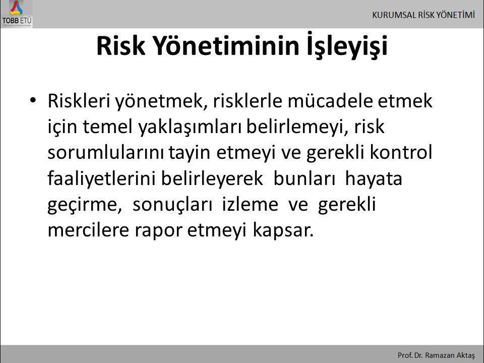 Risk Yönetiminin İşleyişi • Riskleri yönetmek, risklerle mücadele etmek için temel yaklaşımları belirlemeyi, risk sorumlularını tayin etmeyi ve gerekl