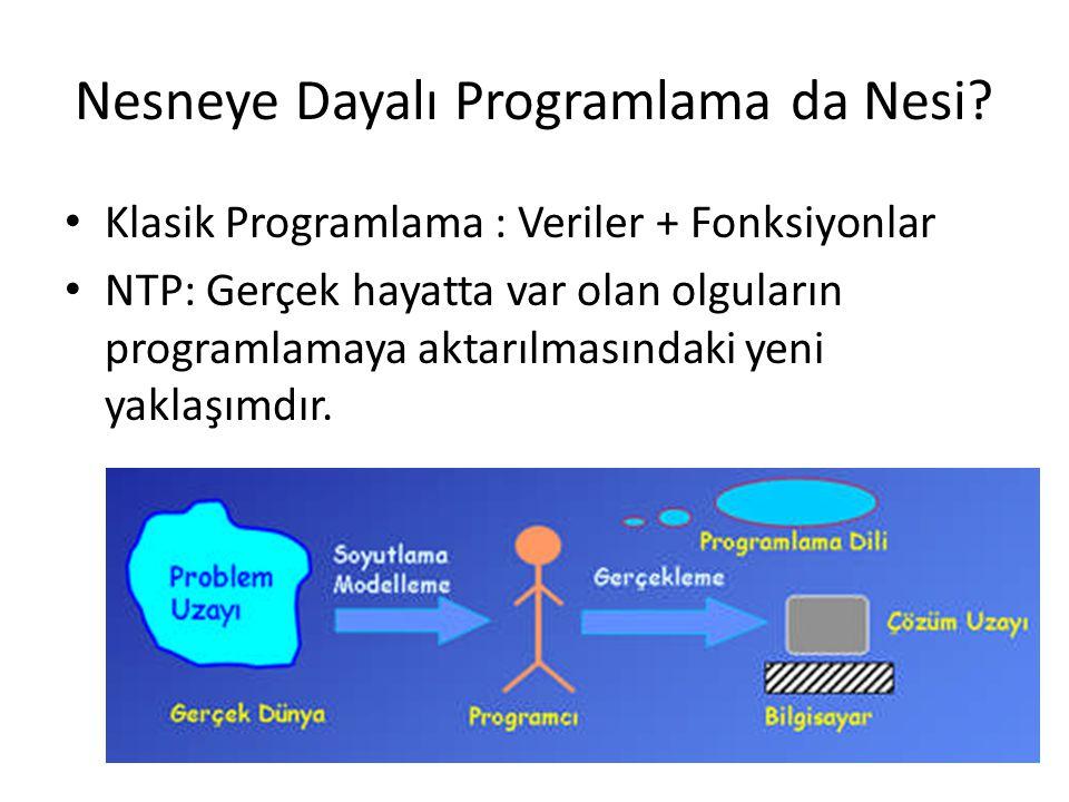 Nesneye Dayalı Programlama da Nesi? • Klasik Programlama : Veriler + Fonksiyonlar • NTP: Gerçek hayatta var olan olguların programlamaya aktarılmasınd