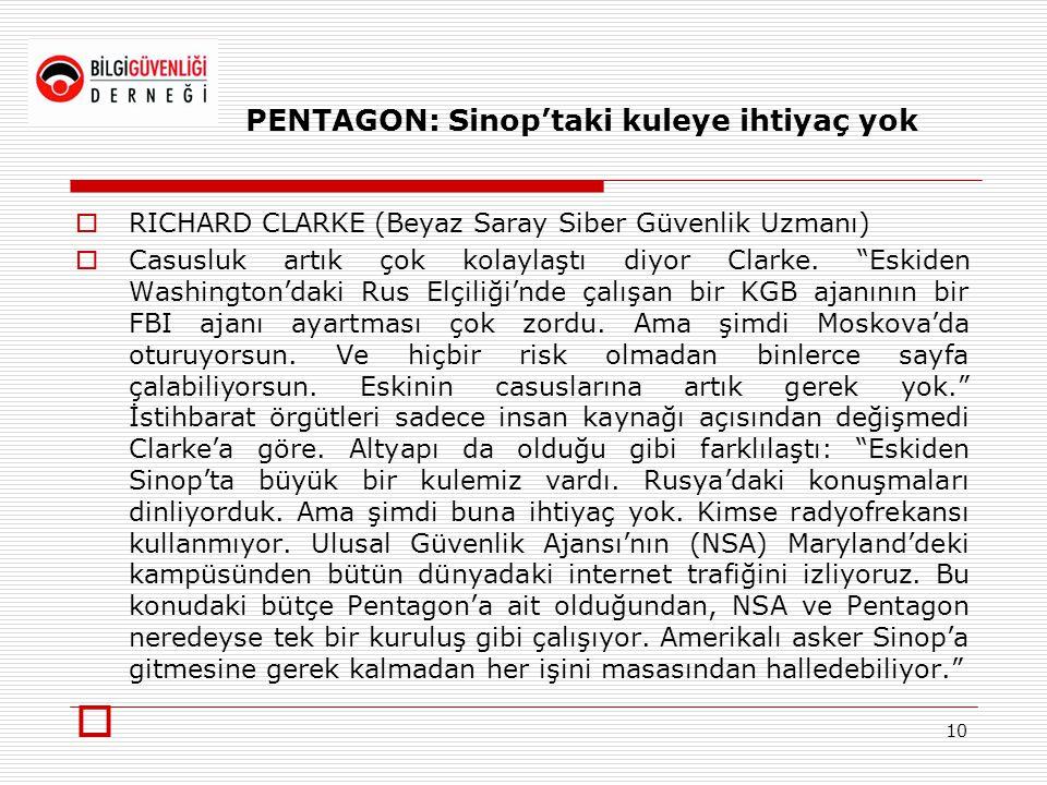 """PENTAGON: Sinop'taki kuleye ihtiyaç yok  RICHARD CLARKE (Beyaz Saray Siber Güvenlik Uzmanı)  Casusluk artık çok kolaylaştı diyor Clarke. """"Eskiden Wa"""