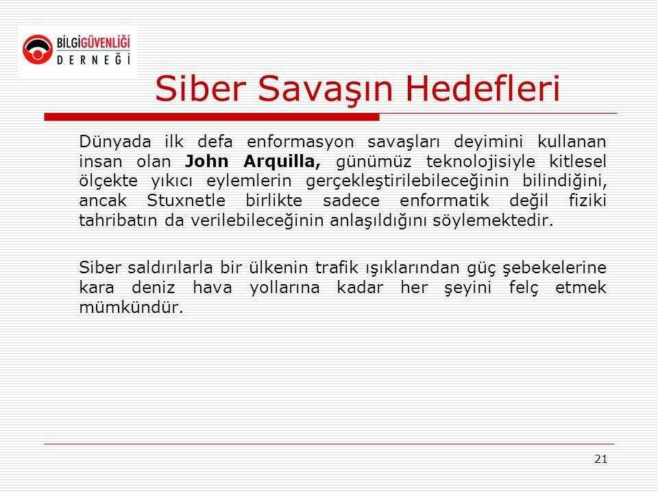 Siber Savaşın Hedefleri Dünyada ilk defa enformasyon savaşları deyimini kullanan insan olan John Arquilla, günümüz teknolojisiyle kitlesel ölçekte yık