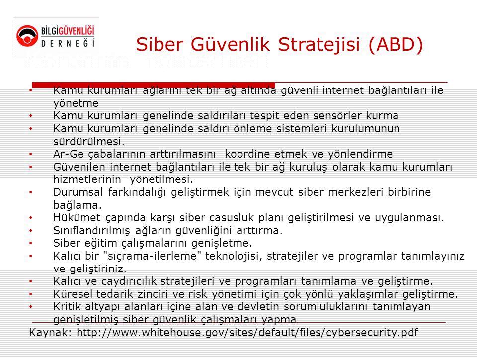 Korunma Yöntemleri • Kamu kurumları ağlarını tek bir ağ altında güvenli internet bağlantıları ile yönetme • Kamu kurumları genelinde saldırıları tespi