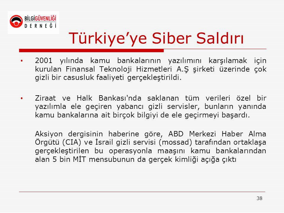 Türkiye'ye Siber Saldırı • 2001 yılında kamu bankalarının yazılımını karşılamak için kurulan Finansal Teknoloji Hizmetleri A.Ş şirketi üzerinde çok gi