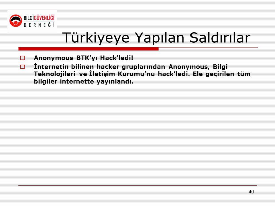 Türkiyeye Yapılan Saldırılar  Anonymous BTK'yı Hack'ledi!  İnternetin bilinen hacker gruplarından Anonymous, Bilgi Teknolojileri ve İletişim Kurumu'