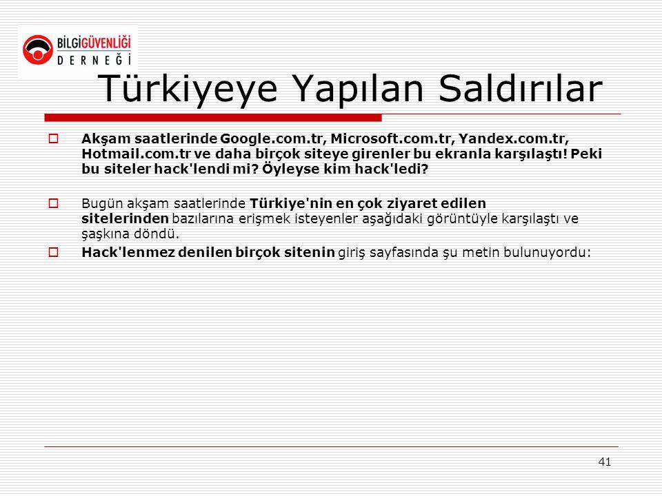 Türkiyeye Yapılan Saldırılar  Akşam saatlerinde Google.com.tr, Microsoft.com.tr, Yandex.com.tr, Hotmail.com.tr ve daha birçok siteye girenler bu ekra