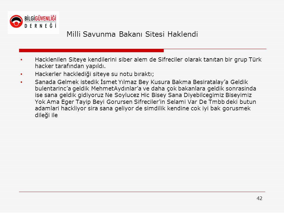 Milli Savunma Bakanı Sitesi Haklendi • Hacklenilen Siteye kendilerini siber alem de Sifreciler olarak tanıtan bir grup Türk hacker tarafından yapıldı.