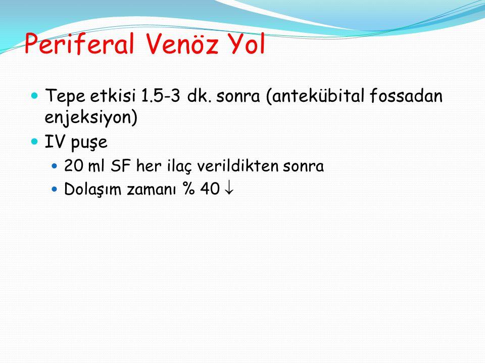 Periferal Venöz Yol  Tepe etkisi 1.5-3 dk.